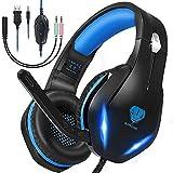Auriculares Gaming ps5 ps4 Xbox Switch,Cascos Gaming pc con microfono cancelación de Ruido,RGB led Bass Surround Cascos Gamer con 3.5mm Jack