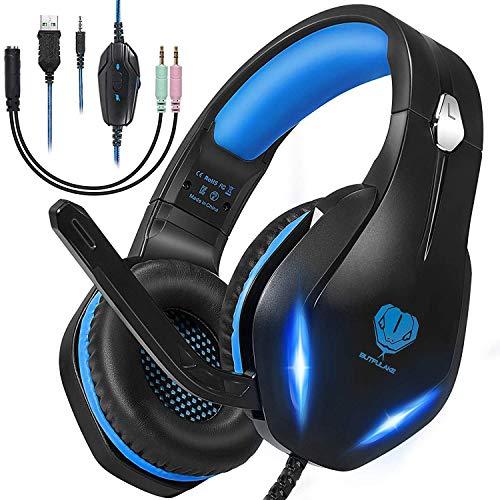 Cuffie Gaming per PS4, PS5, Xbox One, PC, Switch con Luce LED,Cuffie da Gioco Stereo Surround con Filo,3.5mm Cuffie da Gaming con Eliminazione del Rumore con Microfono(nero blu)