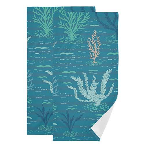 Mnsruu Juego de 2 toallas de mano Coral Reef para baño, invitados, cocina, hotel, spa