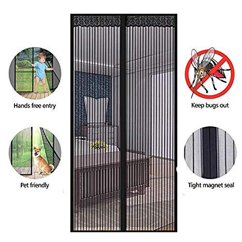 TYX HOME Insectscherm Ballongordijn Magneet zonder boren, vliegenschermdeur met magneetslot, openslaande deuren, deurnet, schuifdeuren, Zwart, 140x240CM