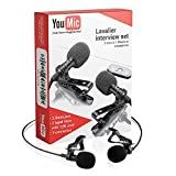 Dual Lavalier Lapel Lav Mic 2 Pack Microphone Set For iPhone X 8 7 Plus 6 6s 5 5s/iOS/Android for Interview, Blog or Podcast