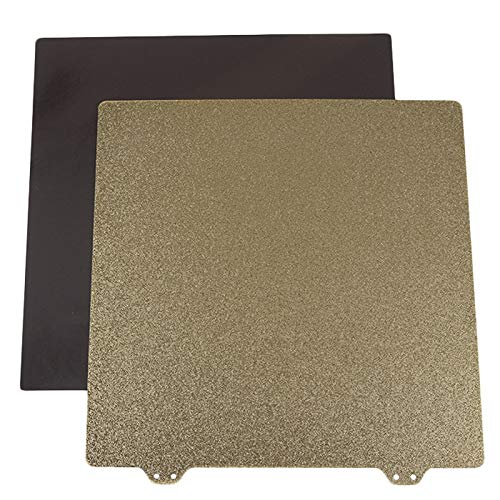 Monland 3D Printer Hot Bed Gold Double Layer Texture Pei Powder 220Mm Steel Plate +6 x Magnetic Block for Prusa I3 Cr-20