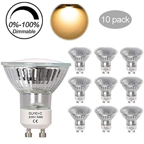 Halogen GU10 50W Dimmbar Reflektor Halogenlampe Ketom 2700K Warmweiss GU10-Sockel 230V 320LM GU10 Halogen-Leuchtmittel 10er Set