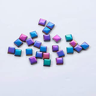 1x1CM Square Shape Rainbow Peacock Color Mosaic Tiles for Home Decoration Crafts (Pack of 120) (Rainbow AB)