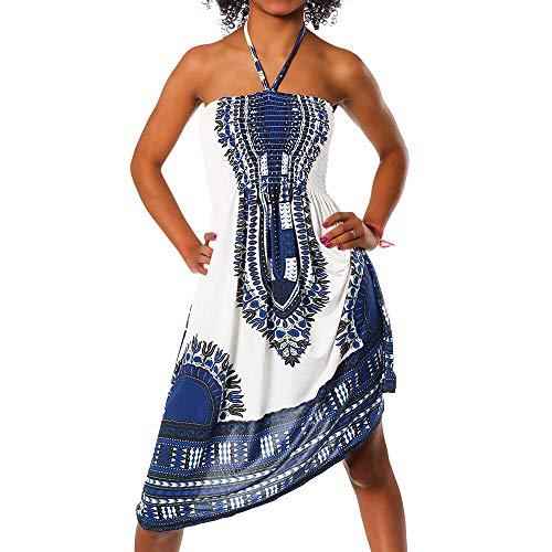 Diva-Jeans Damen Sommer Aztec Bandeau Bunt Tuch Kleid Tuchkleid Strandkleid Neckholder H112, Farbe: F-022 Blau, Größe: Einheitsgröße