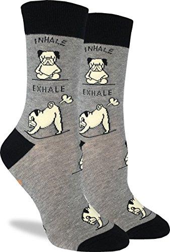 Good Luck Sock Women's Yoga Pug Crew Socks - Grey, Adult Shoe Size 5-9