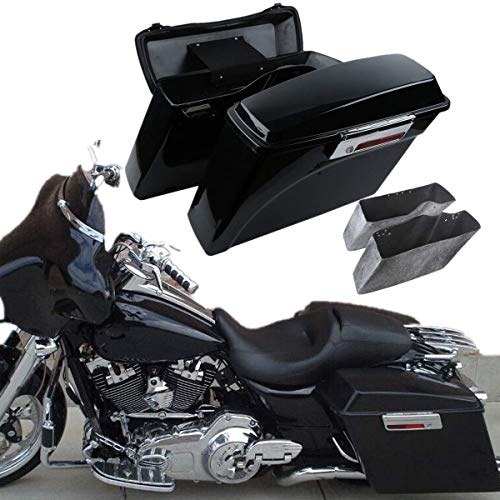 TCT-MT Hard Saddle bags Saddlebag Trunk+Lid Latch Keys Fit For Harley 1994-2013 Touring Road King, Road Glide, Street Glide, Electra Glide FLHT FLHR FLHX FLTR Vivid Black 2012 2011 2010 2009 2008 1999