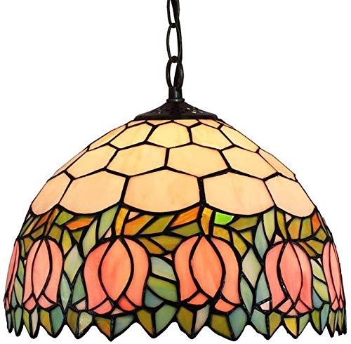 QIURUIXIANG-lámpara de techo, lámpara de techo clásica estilo Tiffany, pantalla de cristal manchado bellamente decorado para cocina, sala de estar, dormitorio sótano loft cafetería (30 cm) QI-305