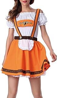 PPangUDing Mädchen Dirndl Dress Set 2 TLG PPangUDing Kleid Maid Oktoberfest Kellnerin Cosplay Damen Midi Trachtenbluse Karneval Bayerische München Bier Abendkleid Retro Gothic M, Orange