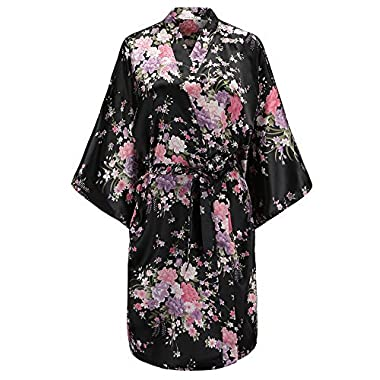 EPLAZA Women Floral Satin Robe Bridal Dressing Gown Wedding Bride Bridesmaid Kimono Sleepwear (Black)