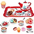 PP PICADOR Tin Tea Party Set for Little Girls, Kids Pretend Play Toys Set for Age 3+ Year Old Kids Toddlers Child, Include Dessert, Cookies, Tea Cup Gift (Red)