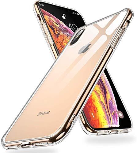 Humixx für iPhone XS Max Hülle,Hochwertigem 9H Gehärtetem Anti-Gelb Glas Rückseite mit Soft TPU Weich Rahmen Schutzhülle,Crystal Clear Handyhülle,Anti Kratzer Transparent Hülle für iPhone XS Max
