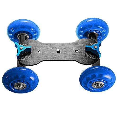 Neewer Professional Tabletop Mobile Rolling Slider Dolly Car Skater Video Track Rail for Digital SLR Cameras & Video Camcorders/LED Lights/Flash Light (Blue)