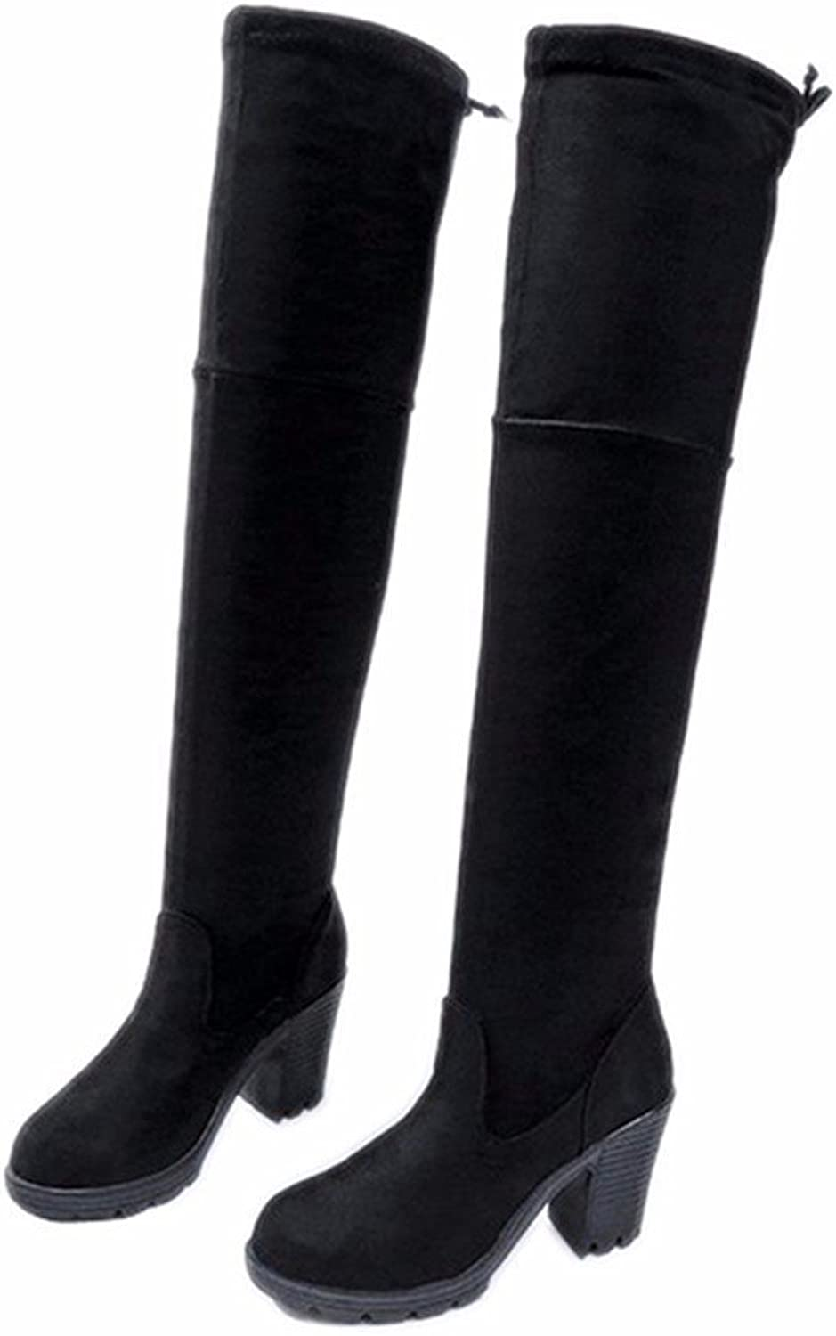 DIDIDD Ladies High-Heeled Knee Boots with Thick Frosted Elastic Thin round Suede shoes,37 Eu,Black