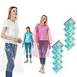 Rain Ponchos for Adults Disposable 5-10 Pack Plastic Raincoat for Men Women