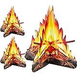 Tatuo 12 Pulgada de Alto Fuego Artificial Hoguera de Cartón Decorativa 3D Antorchas de Centro de Mesa Materiales de Fiesta para Decoración de Fiesta de Fogata, 3 Juegos