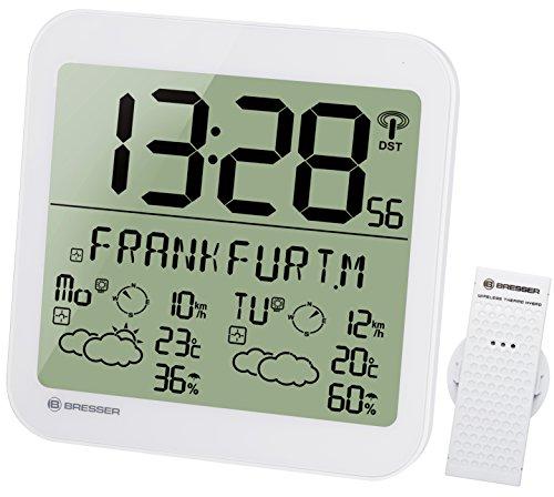 Bresser Wanduhr Wetterstation Funk mit Außensensor mit 4 Tage und Nächte Wettervorhersage und 6cm großen Uhrzeitziffern für Wand und Standmontage, weiß