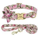Didog Collar de perro para niña con patrón floral, collares grabados para mascotas con hebilla de metal de liberación rápida y placa de identificación personalizada, conjunto rosa, tamaño M