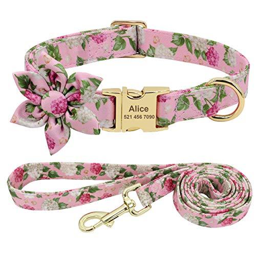 Beirui Hundehalsband und Leine für weibliche Hunde mit Blumenmuster und Gravur, mit goldfarbener Schnalle (rosa Muster, M)