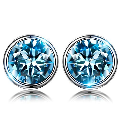 Susan Y Blue Stud Earrings para mujer regalos del día de madres para mamá mujeres niñas cristal de swarovski joyería de moda fina regalos de cumpleaños para damas su hermana novia aniversario regalos
