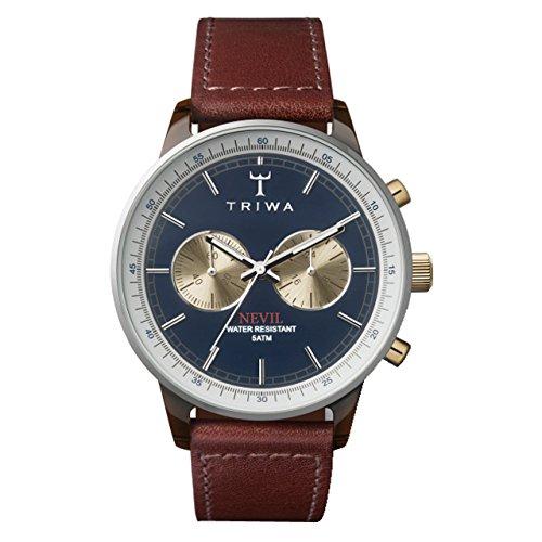 TRIWA Duke Nevil Chrono Armbanduhr braun/blau NEAC118_SC010313