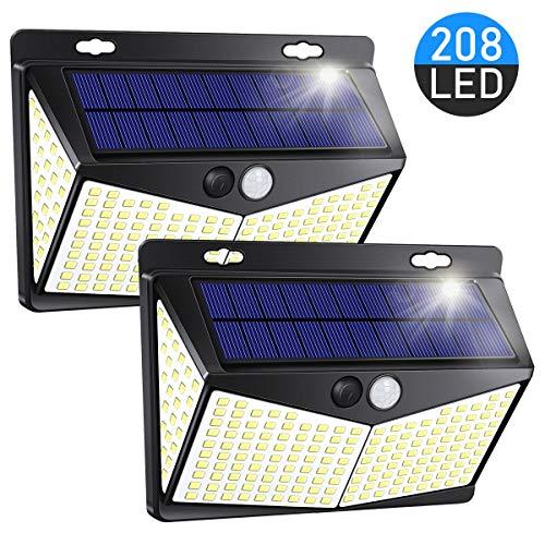 Nacinic Solarlampen für Außen,208 LED Solarleuchte mit Bewegungsmelder,270° Garten Wasserdichte Wandleuchte 3 Modi, 2 Stück
