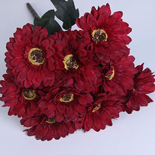 chuanglanja Flor Artificial para Decoracion Crisantemo Artificial Longitud 43cm Hogar Sala De Estar Mesa De Comedor Arreglo Floral 5 Racimos Rojo Oscuro