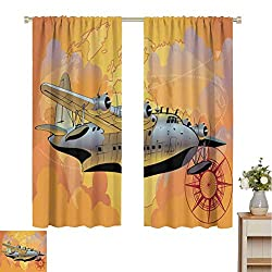 """✔ Ready made: The set includes two 36"""" wide x 108"""" long curtain panels. ✔ Good service: curtains block 85%-99% of light and UV rays. Innovative triple weaving technology reduces noise and improves TV viewing. ✔ These high-quality polyester made heat-..."""