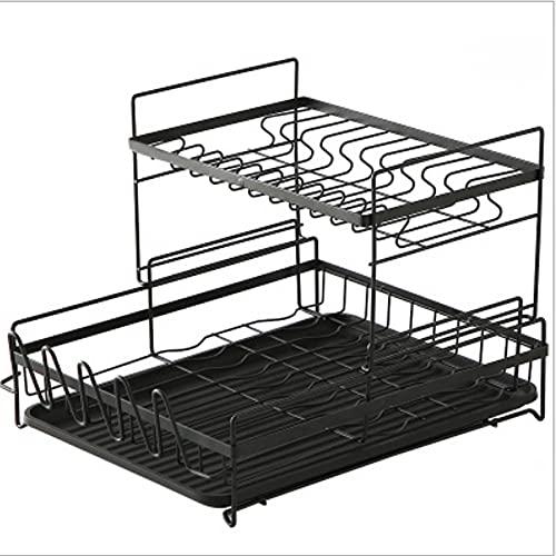 Estante para platos de acero inoxidable, estante para secar vajilla, con soporte para tabla de cortar para utensilios, bandeja para plato de drenaje con espaciado razonable, duradero y resistente