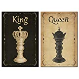 sechars Chess Canvas Wall Art Vintage King and Queen Chess Painting Poster Art...