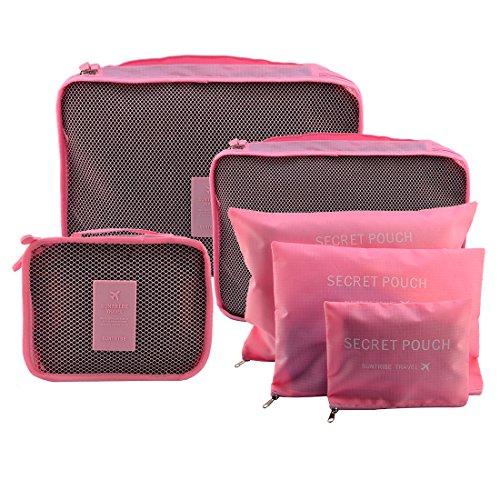 Foxom Organizer per valigie Bagagli Organizzatori Kit 6 Set , 3 Cubi di Imballaggio + 3 Sacchetti - Perfetto di Viaggio Dei Bagagli Organizzatore,colore rosa