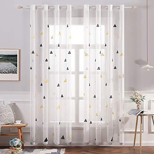 MIULEE Sheer Vorhang Voile Dreieck Stickerei Vorhänge mit Ösen transparent Gardine 2 Stücke Ösenvorhang Schals Fensterschal für Kinderzimmer Wohnzimmer Schlafzimmer 225 cm x 140 cm(H x B) 2er-Set