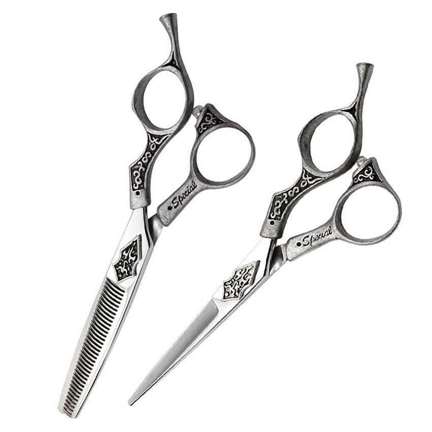 きらめき荒れ地人間6インチ美容院プロフェッショナル理髪セット、フラットシザー+歯シザーセットレトロハンドルハサミセット モデリングツール (色 : Silver)