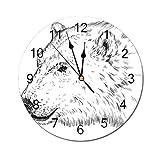 AEMAPE Reloj de Pared Redondo con Forma de Animal, Perfil de Oso Polar Grabado en Tinta Dibujo grisáceo Peludo Fauna en el zoológico del Norte Decorativo Gris carbón Blanco
