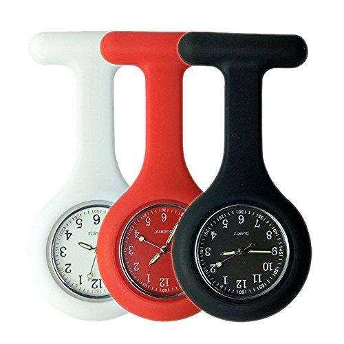 Set of 3 Nurse Watch,Nursing Watch,Nurse Watches for Women, Watch with Second Hand Clip on Watch Nursing Watches for Nurses - White Red Black