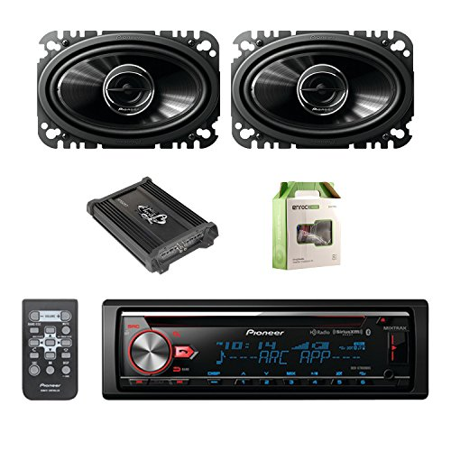 Pioneer CD Bluetooth Receiver with Enhanced Audio Functions with Pioneer 2-Way 4.6 Inch 200W Car Speakers 2-Pairs, Lanzar Heritage Mosfet Amplifier & Enrock Amplifier Wiring Installation Kit