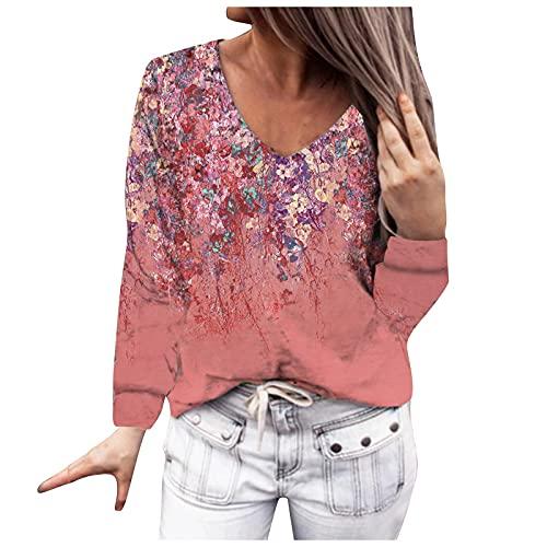 NAQUSHA Blusa de manga larga para mujer con cuello en V y estampado de flores, para otoño e invierno, Vino, XL