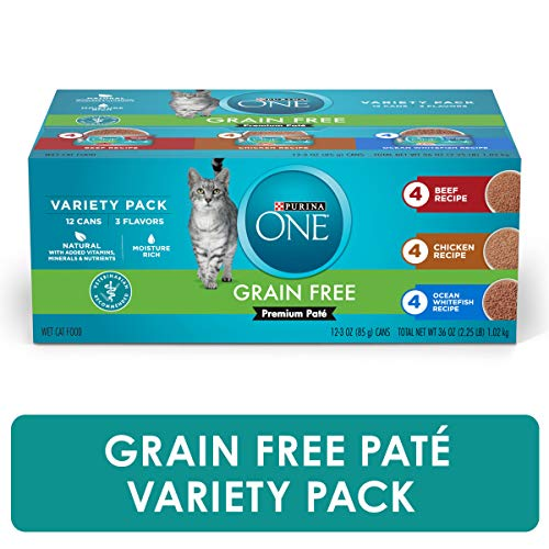 Purina ONE Grain Free, Natural Pate Wet Cat Food Variety Pack, Beef, Chicken & Ocean Whitefish - (2...