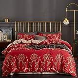 yaonuli Baumwolle Langstapel-Baumwolltücher vierteilige europäische Baumwolle vollaktive Cartoon-Hochzeit vierteilige rote 1,8-2,0 m Bett