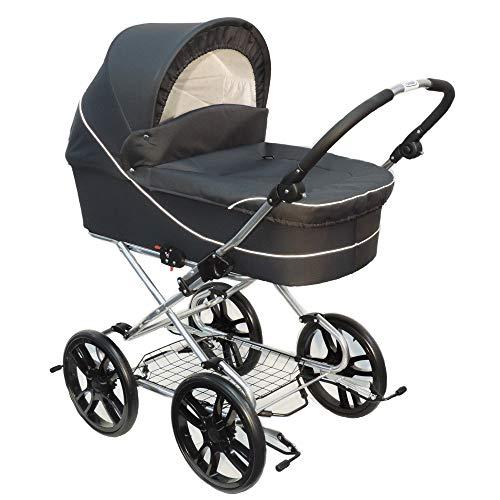 Eichhorn Dänemark-Kinderwagen ESBJERG mit aufstellbarer Rückenlehne - Stoff Grau, Gestellfarbe Silber