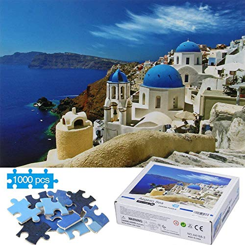 MasterFD Jigsaw Puzzles for Adults 1000 Pieces, Kids Adults Quality Painting Puzzles Aegean Sea, Scene Puzzle Art Games for Educational, Decorate Room, Relieve Stress, Colorful Toys Gifts