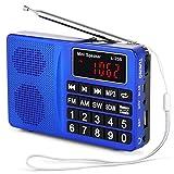 PRUNUS L-258SW Radio Portable Rechargeable SW/FM/AM(MW)/SD/TF/USB(0-64 GB) MP3,Poste de Radio avec Grands Boutons/Grand Écran. Mémoriser et Supprimer Les Stations Manuellement ou Automatiquement