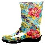 Botas femininas de chuva e jardim Sloggers azul de verão 6