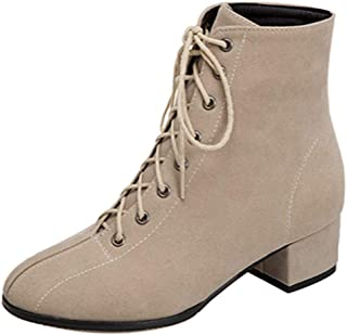 MisaKinsa Women Block Heels Ankle Boots Lace Up Booties Round Toe