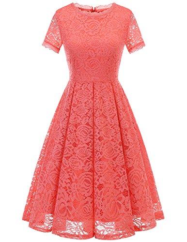 DRESSTELLS Damen Midi Elegant Hochzeit Spitzenkleid Kurzarm Rockabilly Kleid Cocktail Abendkleider Coral 3XL