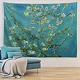 ORTIGIA Van Gogh Mandelblüte Tapisserie, Ölgemälde, Wandbehang, Naturlandschaft, Wandkunst, Heimdekoration für Schlafzimmer, Wohnzimmer, 130 x 150 cm (B x L)