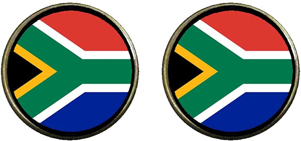 GiftJewelryShop Bronze Retro Style South Africa flag Photo Clip On Earrings 14mm Diameter