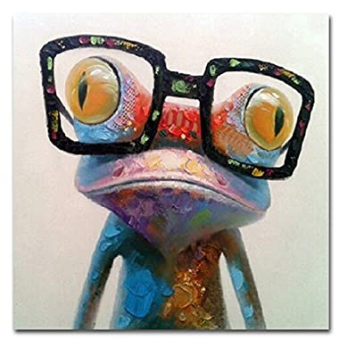 Muzagroo Art Oil Painting Modern Art Happy Frog Painted Hand on Canvas Stretched Ready to Hang Wall Decoration(24x24in, Happy Frog)