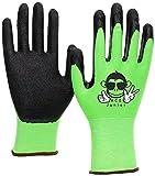 3 Paar ACE Junior Garten-Arbeitshandschuhe - Schutz- & Bastel-Handschuhe für Kinder - EN 388 - Grün/Schwarz - 9-10 Jahre