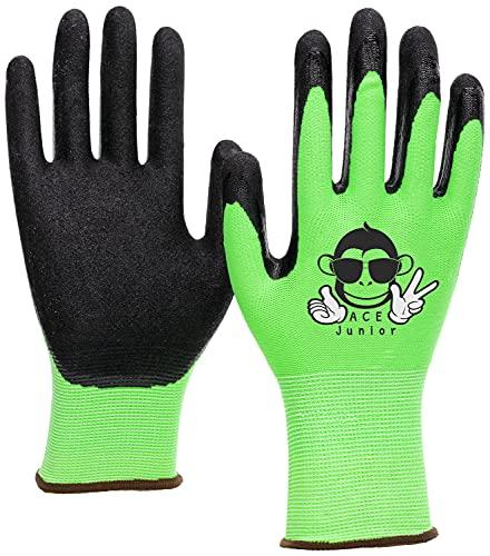 ACE 3 Paar Junior Garten-Arbeitshandschuhe - Schutz- & Bastel-Handschuhe für Kinder - EN 388 - Grün/Schwarz - 7-8 Jahre